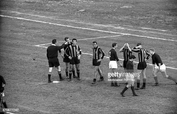 'Italian football players wearing the Inter suit Mario Corso Armando Picchi Giuliano Sarti Giacinto Facchetti and Italian football players wearing...