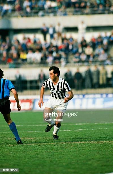 Italian footballer Luigi De Agostini of Juventus in action during an Italian League match against AC Pisa at Stadio Comunale Turin 20th March 1988...