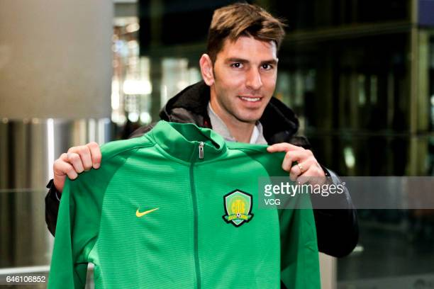 Italian footballer Roberto Soriano arrives at the airport as he has joined Beijing Sinobo Guoan FC for the new season of China Super League 2017 on...