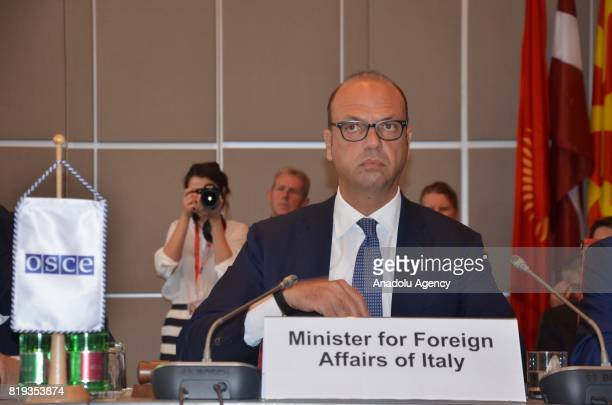 Italian Foreign Affairs Minister Angelino Alfano attends the meeting of the Organization for Security and Cooperation in Europe attends in Vienna...
