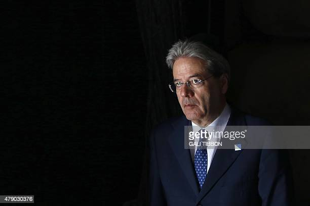 Italian Foreign Affairs minister Paolo Gentiloni is seen at the Hall of Remembrance during her visit on June 30 2015 to the Yad Vashem Holocaust...