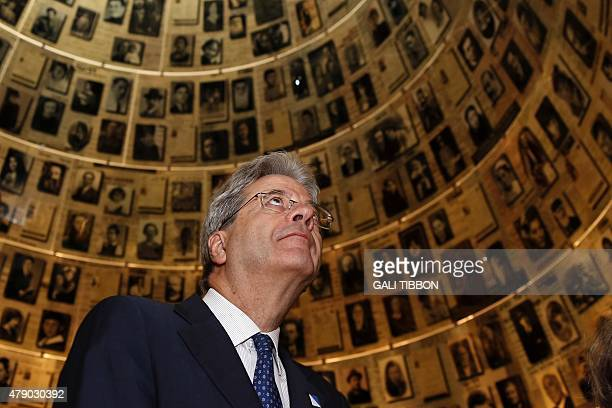 Italian Foreign Affairs minister Paolo Gentiloni visits the Hall of Names which commemorates the six million Jews killed by the Nazis during World...