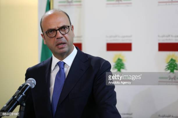 Italian Foreign Minister Angelino Alfano and Lebanese Foreign Minister Gebran Bassil hold a press conference after their meeting at Foreign Ministry...