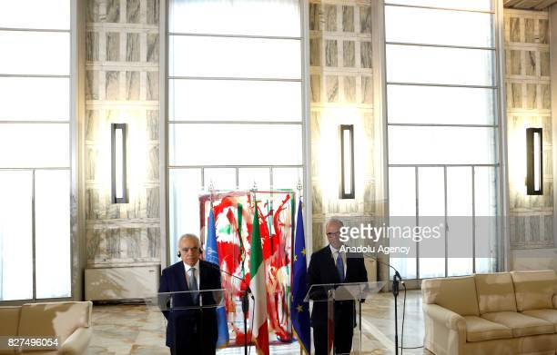 Italian Foreign Minister Angelino Alfano and UN Special Envoy for Libya Ghassan Salame hold a joint press conference following their meeting at the...
