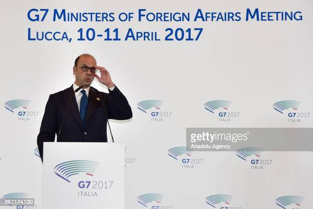 Italian Foreign Minister Angelino Alfano delivers a speech during a press conference within G7 Ministers of Foreign Affairs Meeting in Lucca Italy on...