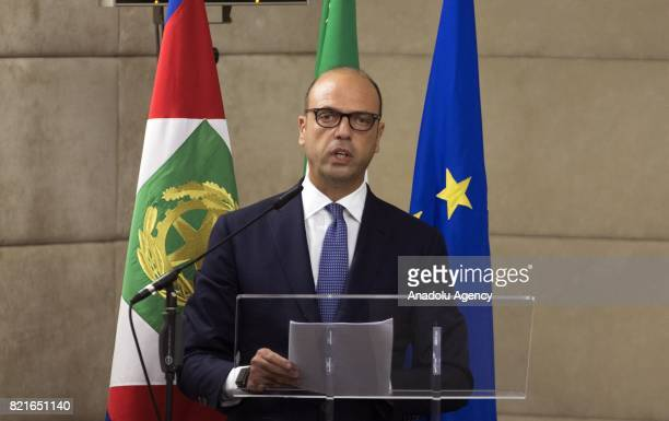 Italian Foreign Minister Angelino Alfano delivers a speech during the 12th Conference of the Ambassadors of Italy at the Farnesina Italian Foreign...