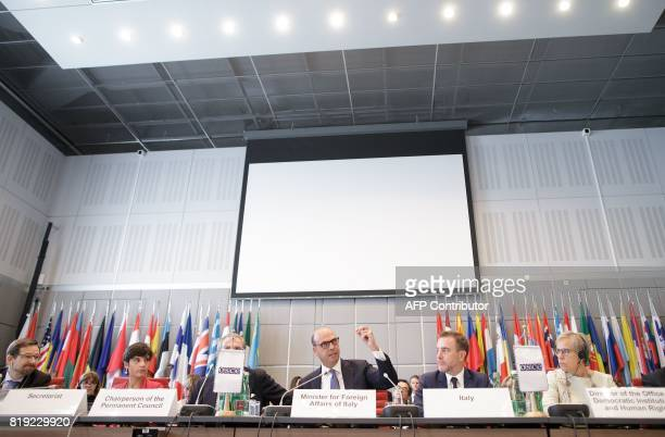 Italian Foreign Minister Angelino Alfano gestures during his speech at an OSCE meeting in Vienna Austria on July 20 2017 / AFP PHOTO / APA / GEORG...