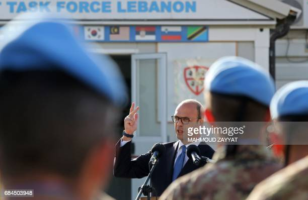 Italian Foreign Minister Angelino Alfano gives a speech to Italian members of the UN Interim Force in Lebanon as he visits the Italian UNIFIL...