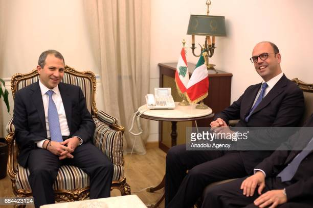 Italian Foreign Minister Angelino Alfano meets with Lebanese Foreign Minister Gebran Bassil at Foreign Ministry building in Beirut Lebanon on May 18...