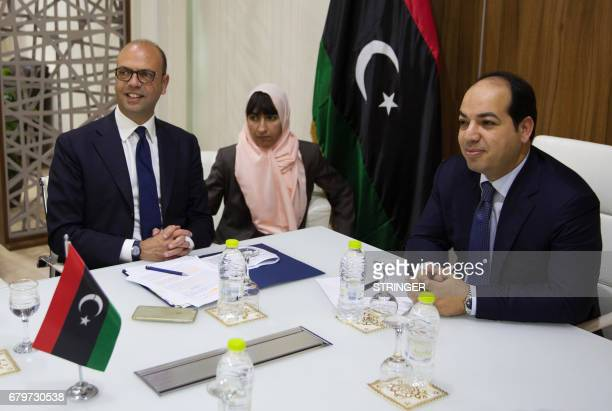 Italian Foreign Minister Angelino Alfano meets with Libyan deputy prime minister of the Government of National Accord Ahmed Maiteeq on May 6 in...