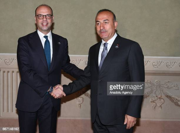 Italian Foreign Minister Angelino Alfano meets with Prime Foreign Minister of Turkey Mevlut Cavusoglu within the G7 Ministers of Foreign Affairs...