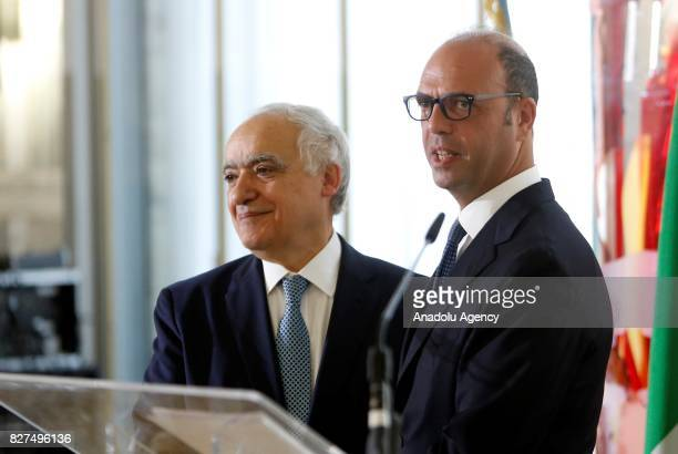 Italian Foreign Minister Angelino Alfano shakes hands with UN Special Envoy for Libya Ghassan Salame after their meeting at the Farnesina Foreign...