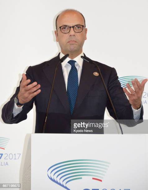 Italian Foreign Minister Angelino Alfano speaks at a news conference in Lucca Italy on April 11 after chairing a twoday meeting of the Group of Seven...
