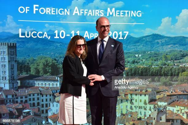 Italian Foreign Minister Angelino Alfano welcomes Canadian Foreign Minister Chrystia Freeland before the G7 Ministers of Foreign Affairs Meeting in...
