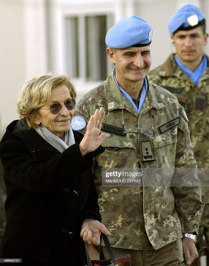 Italian Foreign Minister Emma Bonino waves during her visit to Italian troops of the United Nations Interim Force in Lebanon (UNIFIL), based in the southern Lebanese village of Shamaa on February 5, 2014.