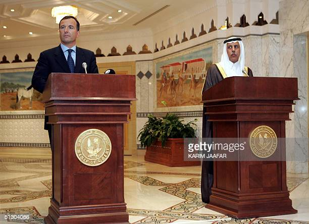 Italian Foreign Minister Franco Frattini and Qatar's minister of the state for foreign affairs Ahmad bin Abdullah alMahmud hold a joint press...