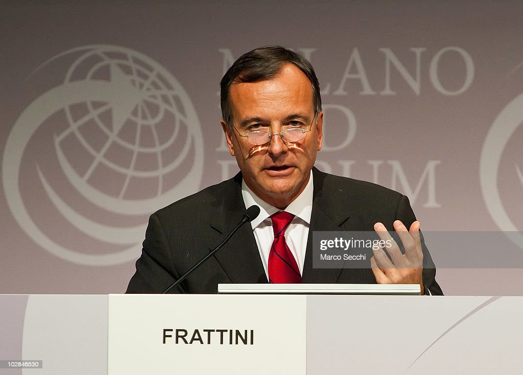 Italian Foreign Minister <a gi-track='captionPersonalityLinkClicked' href=/galleries/search?phrase=Franco+Frattini&family=editorial&specificpeople=536993 ng-click='$event.stopPropagation()'>Franco Frattini</a> gives the closing speech on the second day of the Med Forum 2010 on July 13, 2010 in Milan, Italy. The Milano Med Forum is an economic and financial meeting in its second year, established to promote the political and economical connections on the euro Mediterranean area.