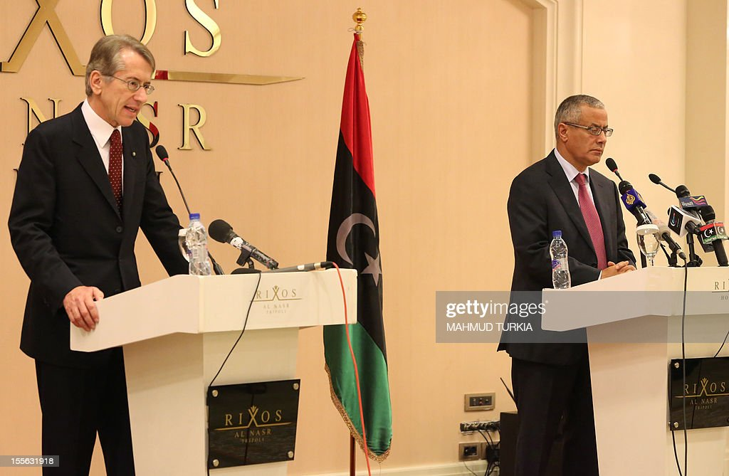 Italian Foreign Minister Giulio Terzi speaks during a joint press conference with Libyan prime minister-designate Ali Zeidan, whose 30-member cabinet is due to be sworn in this week, following their meeting in Tripoli on November 6, 2012. The Italian top diplomat arrived in Libya for high level talks with the country's first elected authorities since the ouster of veteran strongman Moamer Kadhafi.