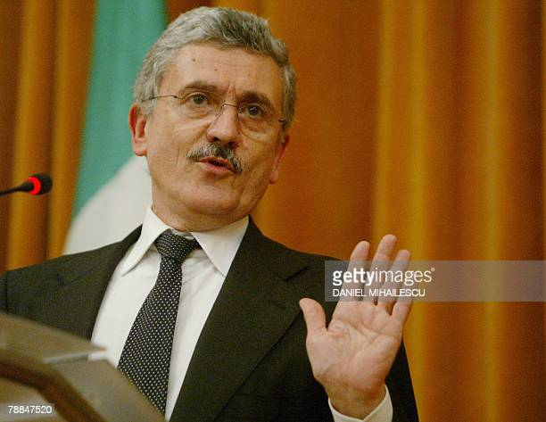 Italian Foreign Minister Massimo D'Alema gestures during a press conference with his his Romanian counterpart Adrian Cioroianu at the Romanian...