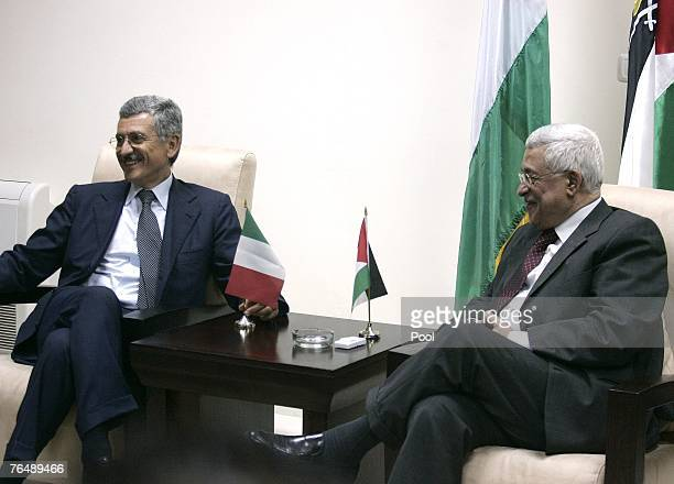 Italian Foreign Minister Massimo D'Alema meets with Palestinian president Mahmud Abbas September 3 2007 in Ramallah West Bank D'Alema is on an...