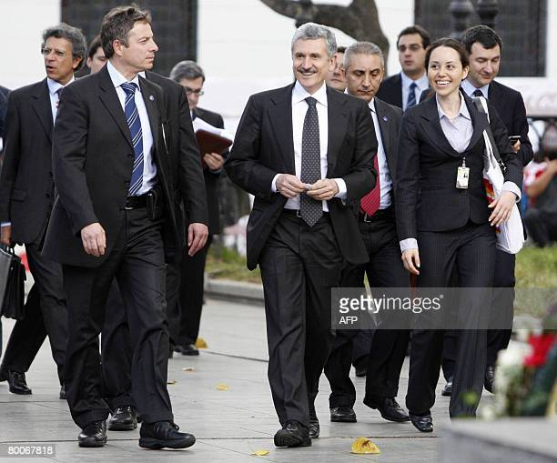 Italian Foreign Minister Massimo D'Alema walks along a street in downtown Caracas on February 29 2008 after meeting with his Venezuelan counterpart...