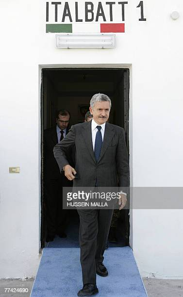 Italian Foreign Minister Massimo D'Alema walks at one of the Italian UN bases in the southern Lebanese village of Maarakeh 20 October 2007 The...