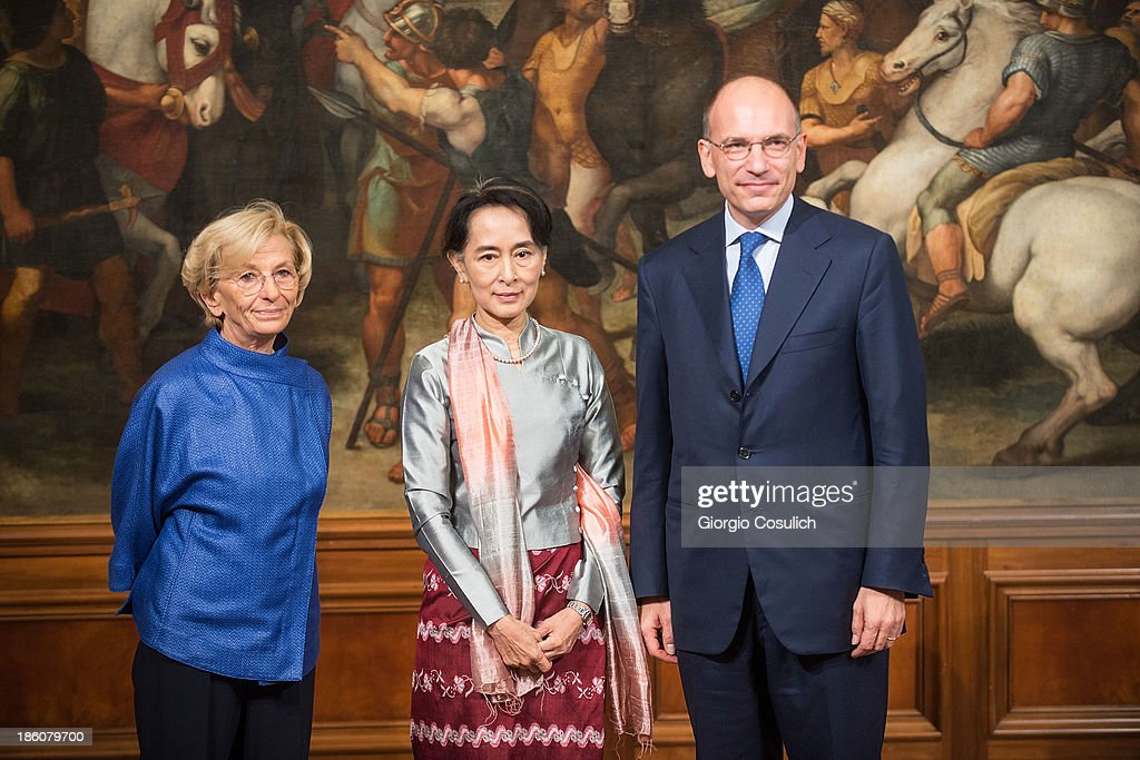 Italian Foreign Ministry <a gi-track='captionPersonalityLinkClicked' href=/galleries/search?phrase=Emma+Bonino&family=editorial&specificpeople=539913 ng-click='$event.stopPropagation()'>Emma Bonino</a> (L), Nobel Peace Laureate <a gi-track='captionPersonalityLinkClicked' href=/galleries/search?phrase=Aung+San+Suu+Kyi&family=editorial&specificpeople=214208 ng-click='$event.stopPropagation()'>Aung San Suu Kyi</a> (C) and Italian Prime Minister <a gi-track='captionPersonalityLinkClicked' href=/galleries/search?phrase=Enrico+Letta&family=editorial&specificpeople=2915592 ng-click='$event.stopPropagation()'>Enrico Letta</a> meet at Palazzo Chigi on October 28, 2013 in Rome, Italy. <a gi-track='captionPersonalityLinkClicked' href=/galleries/search?phrase=Aung+San+Suu+Kyi&family=editorial&specificpeople=214208 ng-click='$event.stopPropagation()'>Aung San Suu Kyi</a> was awarded the honorary citizenship in 1994 but had been prevented from receiving it after being kept under house arrest until November 13, 2010, by Burma's military junta.