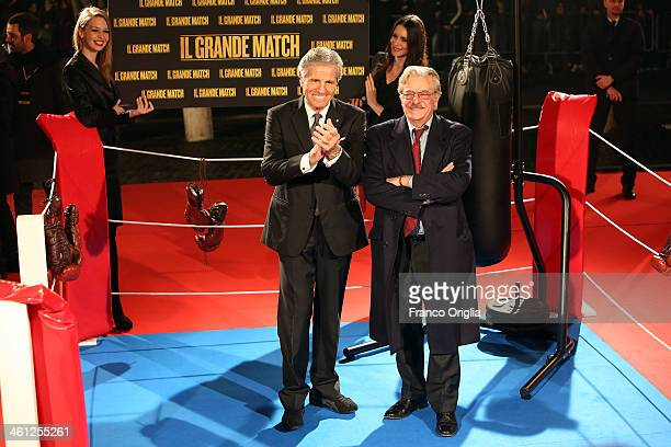 Italian former boxer Nino Benvenuti and Italian actor Giancarlo Giannini attend the 'Grudge Match' Rome Premiere on January 7 2014 in Rome Italy