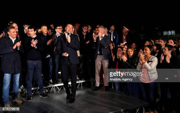 Italian former Prime Minister Matteo Renzi talks to media at the end of the primary elections of the Italian Democratic Party leadership in Rome...