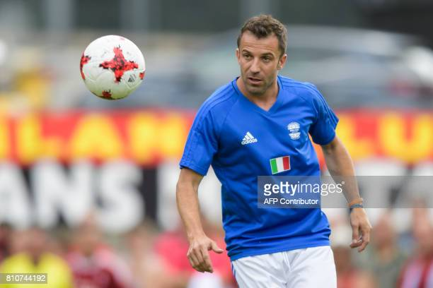 Italian former soccer player Alessandro Del Piero eyes the ball during 'The Gianni's game the match of legends' a football match with football...
