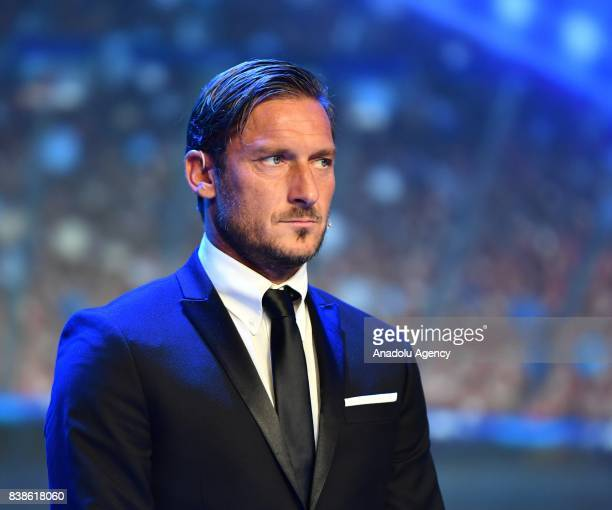 Italian former soccer player Francesco Totti attends during the UEFA Champions League Group stage draw ceremony at the Grimaldi Forum Monte Carlo in...