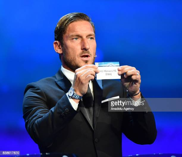 Italian former soccer player Francesco Totti draws AS Monaco during the UEFA Champions League Group stage draw ceremony at the Grimaldi Forum Monte...