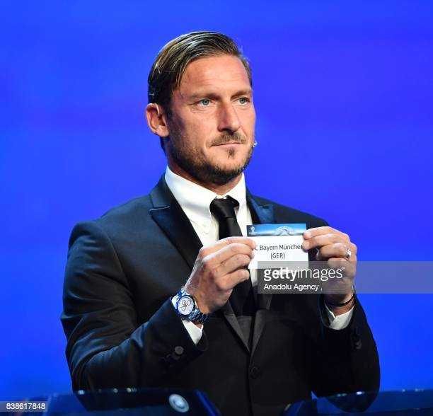 Italian former soccer player Francesco Totti draws Bayern Munich during the UEFA Champions League Group stage draw ceremony at the Grimaldi Forum...