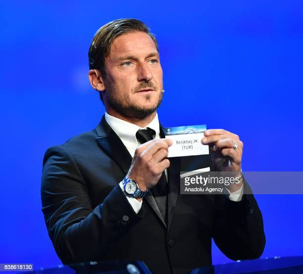 Italian former soccer player Francesco Totti draws Besiktas JK during the UEFA Champions League Group stage draw ceremony at the Grimaldi Forum Monte...