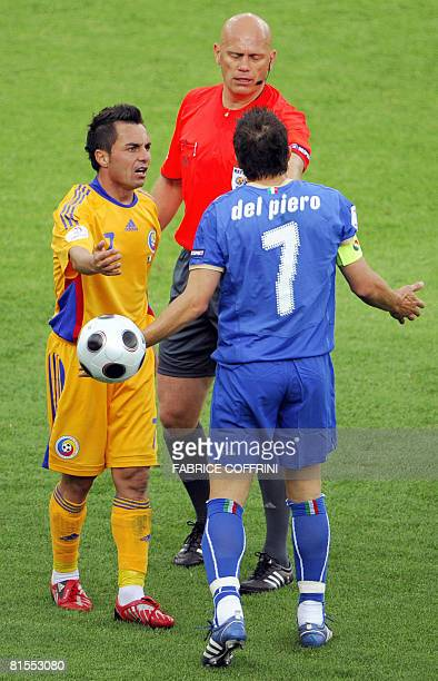 Italian forward Alessandro Del Piero argues with Norwegian referee Tom Henning next to Romanian mildfielder Florentin Petre during the Euro 2008...