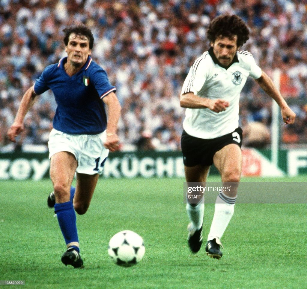 Italian forward Marco Tardelli L and West German defender Paul