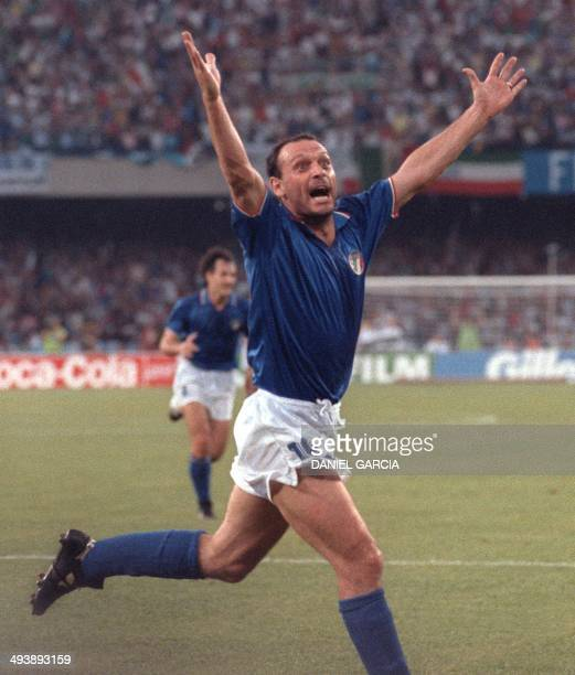 Italian forward Salvatore Schillaci exults after scoring his team's first goal during the World Cup semifinal soccer match between Italy and...