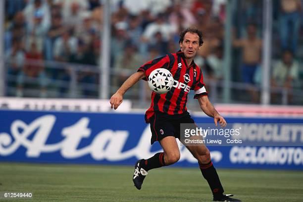 Italian Franco Baresi playing for AC Milan