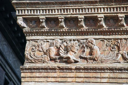 Italian Frieze Architectural Detail In Bologna Stock Photo