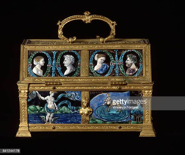 Italian Funerary Urn with Four Portrait Busts and Mythological Scenes