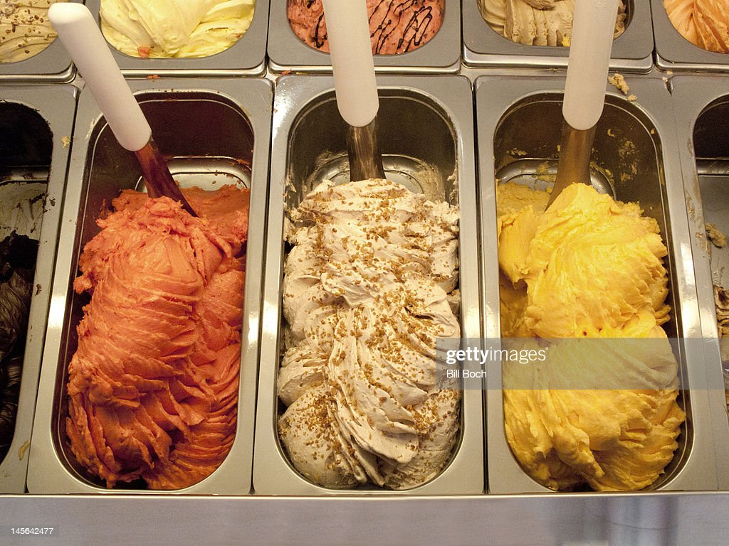 Italian gelato ice cream displayed in shop