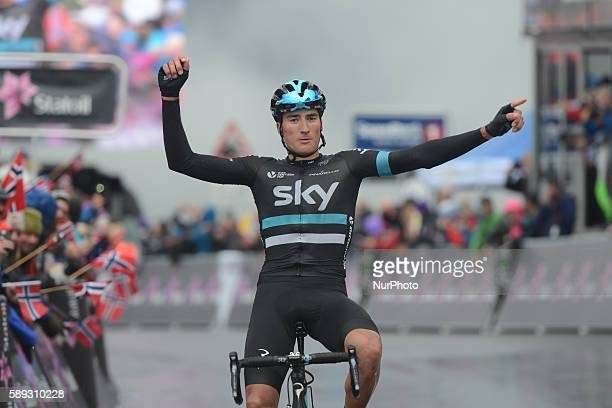 Italian Gianni Moscon from Team SKY wins the third stage of the Arctic Race of Norway 2016 the 160km from Nesna to Korgfjellet On Saturday 13 August...