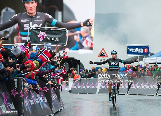 Italian Gianni Moscon of team Sky celebrates as he crosses the finish line to win the 160 km third stage of the Arctic Race of Norway between Nesna...