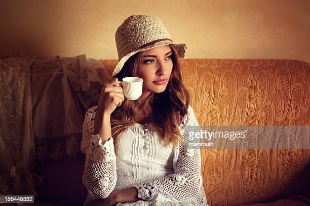 italian girl drinking coffee