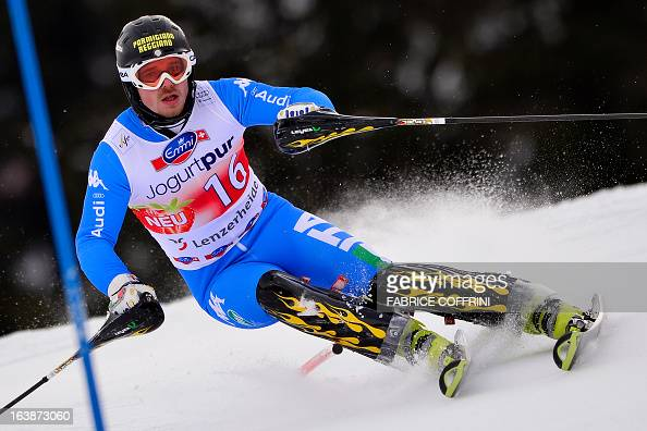 Italian Giulano Razzoli competes during the Men Slalom race at the Alpine ski World Cup finals on March 17 2013 in Lenzerheide AFP PHOTO / FABRICE...
