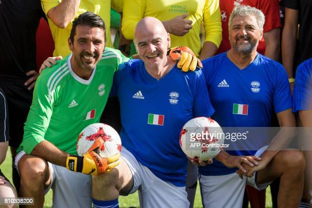 Italian goalkeeper Gianluigi Buffon FIFA President Gianni Infantino and former Italian player Alessandro Altobelli pose during 'The Gianni's game the...