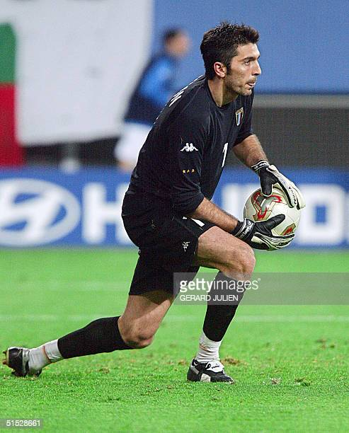 Italian goalkeeper Gianluigi Buffon makes a save against South Korea in their second round match at the 2002 FIFA World Cup Korea/Japan in Daejeon 18...