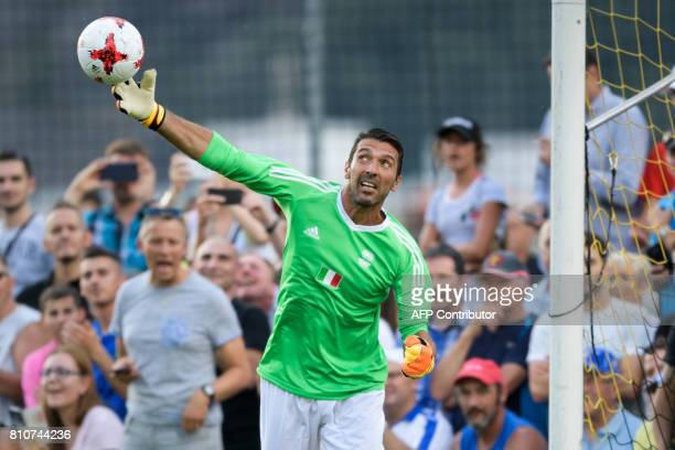 Italian goalkeeper Gianluigi Buffon throws the ball during 'The Gianni's game the match of legends' a football match with football legends in honour...