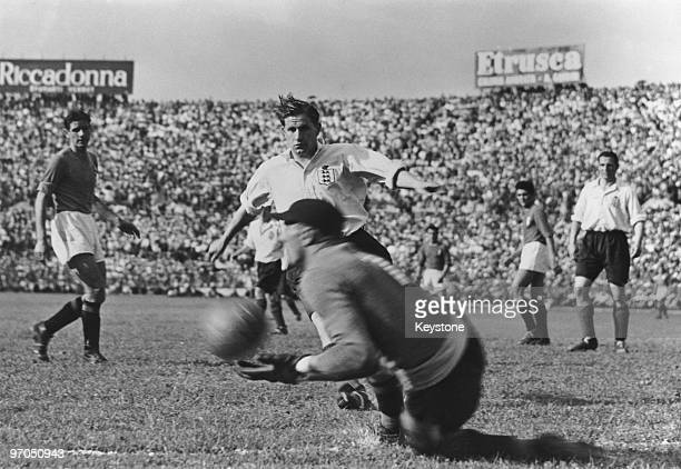 Italian goalkeeper Valerio Bacigalupo makes a save during an international against England at the Stadio Comunale Turin Italy 16th May 1948 England...