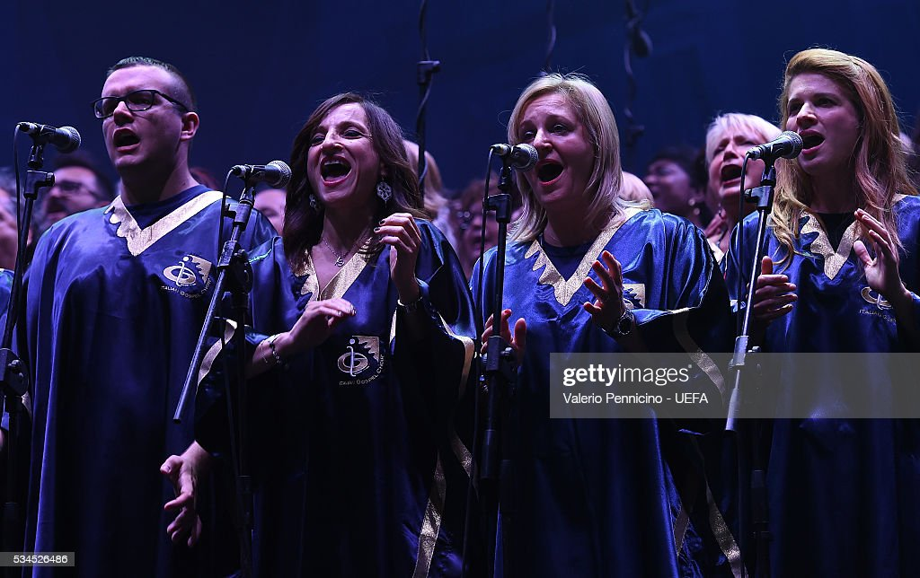 Italian Gospel choir perform during the Champions Festival prior to the final at Stadio Giuseppe Meazza on May 26, 2016 in Milan, Italy.
